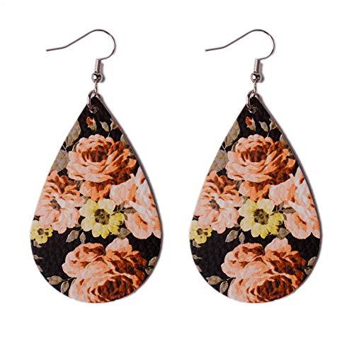 L&N Rainbery Floral Leather Teardrop Earrings for Women Faux Leather Statement Drop Earrings Light Weight (Coral Black)