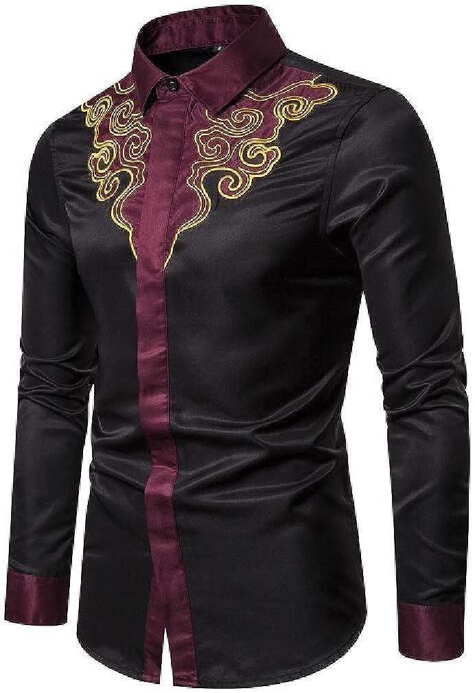 Hajotrawa Mens Casual Long Sleeve Dashiki Slim Embroidered Button Down Shirts