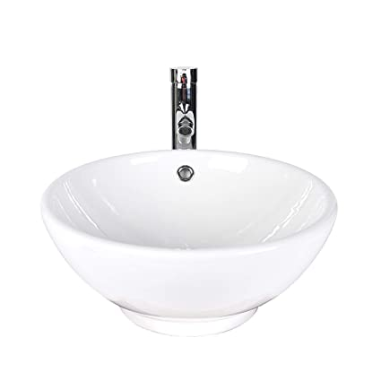 ELECWISH Bathroom Vessel Sink with Faucet Combo with Overflow Ceramic Round  Bowl (White 1)