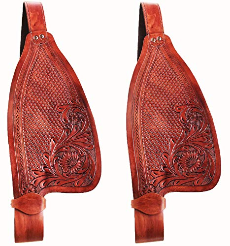 CHALLENGER Horse Western Hand Tooled Leather Replacement Plain Saddle Fenders Dark Tan 5205 ()