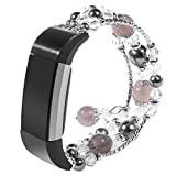 Jewelry Style Fitbit Charge 2 Band, Fashion Man-made Agate Gem Rhinestone Crystal Diamond Pearl Bead Bracelet Watchband Elastic Stretch Band for Fitbit Charge 2 - Gray