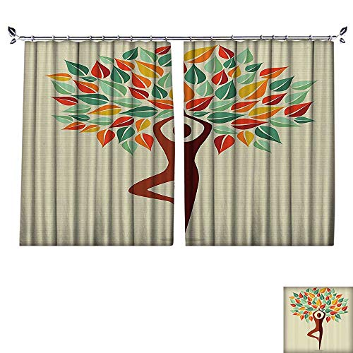 DESPKON Decoration Polyester Material Shaped Yoga Exercise Tree ntasy Folklore Imaginati Mystery Oriental for Children's Room W72 x L84