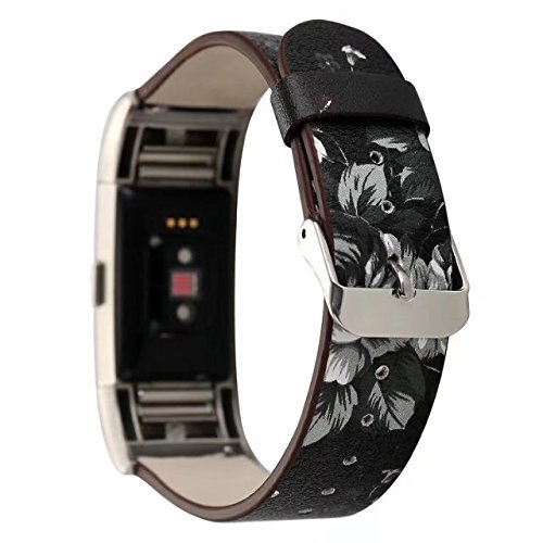 Conelelife For Fitbit Charge 2 Band, Floral Print Wrist Bands Strap Bracelet Replacement Watchband Accessories for Fitbit Charge 2 Smartwatch Fitness Tracker (Black+Gray) by Conelelife (Image #1)