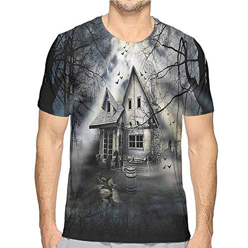 t Shirt for Men Halloween,Haunted House Dark Horror Custom t Shirt L