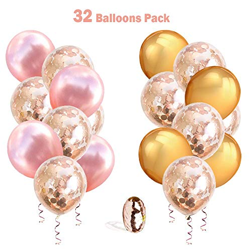 (RoundDeal 32 Pack 12 inch Rose Gold Clear Confetti Balloons for Baby Girl Shower, Bridal Shower, Bachelorette Decorations, Happy Engagement Decorations, Birthday, Wedding & Anniversary Decor with Extra 11 Yard Rose Gold Foil Ribbon, 32 PCs 12 Inches Balloon Pack)