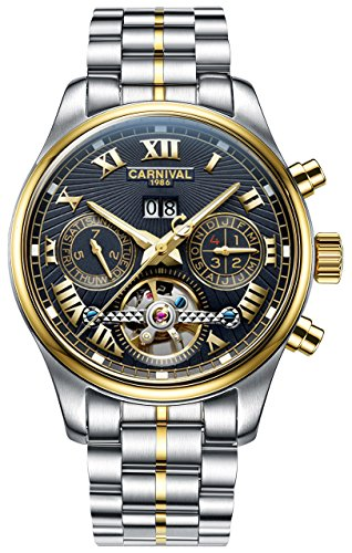- CARNIVAL Retro Roman Applique Complications Calendar Analog Automatic Mechanical Movement Watches for Men (Gold Black)