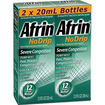 2 Pack Combo Afrin No Drip Severe Congestion 12 Hours Relief Nasal Decongestant Bottle of 2/3 Oz