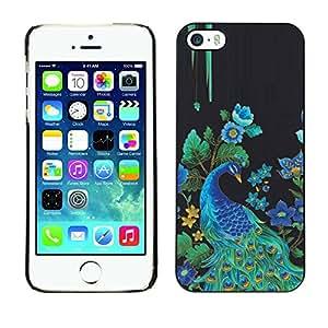 [Neutron-Star] Snap-on Series Teléfono Carcasa Funda Case Caso para iPhone 5 / 5S [Las plumas del pavo real Pájaro floral Rye Azul]