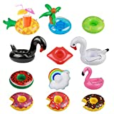 Inflatable Drink Holder,MEZOOM 12 Pcs Inflating Floating Drink Coasters Cup Holders Swimming Flotation Devices for Pool Party Water Fun Kids Bath Toys Shower
