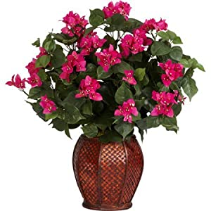 "Wonderful Two Feet Tall Bougainvillea with Vase Silk Plant, 8""W x 9""H Pot Size, Pink/Green 5"