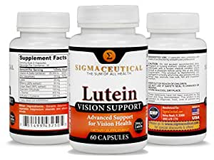 Premium Lutein Vision Support Supplement (Plus Best Eye Care eBook) 20mg of Healthy Lutein, Vitamin A, Zinc, Bilberry Extract, Grape Seed Extract for Strained, Red or Dry Eyes - 60 Capsules