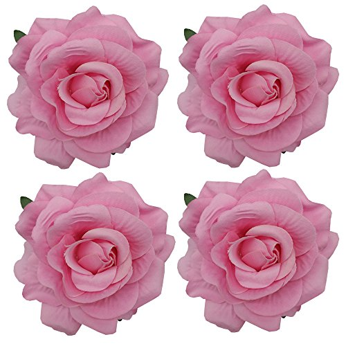 Sanrich 4pcs/pack Fabric Rose Hair Flowers Clips Hairpin Brooch Hair Accessory Wedding Party Headpieces (pink)
