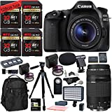 Canon EOS 80D Digital SLR Camera Kit, 128 GB of Memory Cards (U3), 75-300mm Lens, Camera Bag, Ritz Gear 60″ Tripod, Macro Lenses, 2 Filter Sets and Canon Warranty