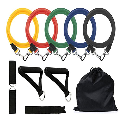 Resistance Bands Set, Koncle Exercise Bands, Fitness Bands Include 5 Exercise Bands, Door Anchor, Foam Handles, Ankle Straps and Waterproof Carrying Case, for Resistance Training , Sports & Outdoors by Koncle