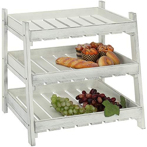 MyGift Vintage White Wood Crate Design 3-Tier Organizer Shelves, Retail Display Rack