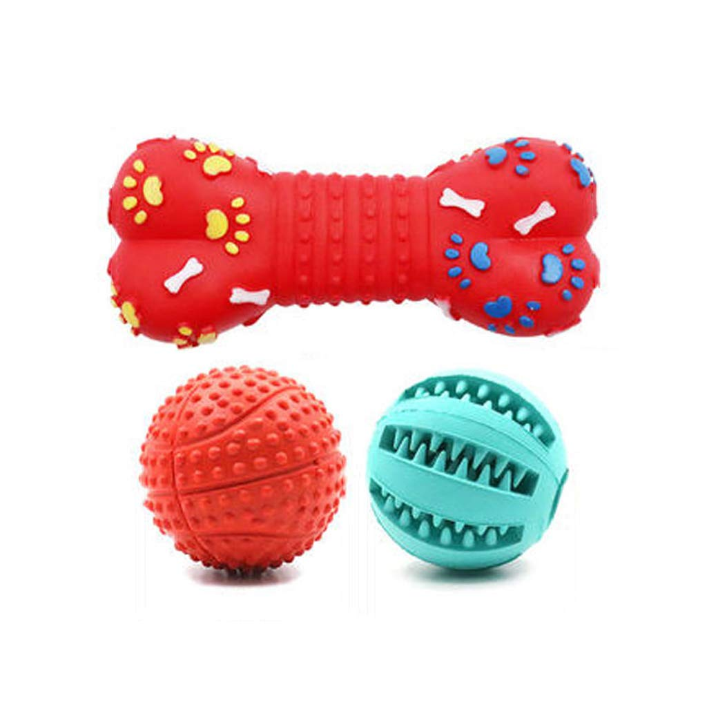 D Dog Toy Ball bite-Resistant pet Dog Molar Toy Small Large Dog Toy Supplies Bone paw + Watermelon Ball + Massage Ball