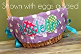 Personalized Easter Basket Liner - Purple Polka Dot - Personalized with Name