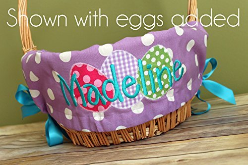 (Personalized Easter Basket Liner - Purple Polka Dot - Personalized with Name)