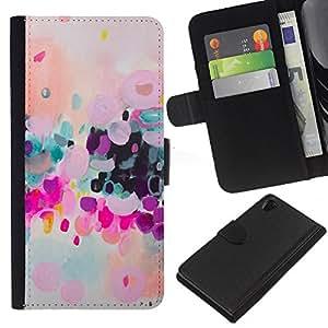 For Sony Xperia Z2 D6502 Case , Colorful Modern Art Purple - la tarjeta de Crédito Slots PU Funda de cuero Monedero caso cubierta de piel