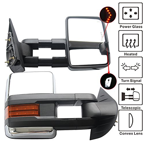 Towing Mirror Fits 2007-2014 Silverado | Towing Mirror Power Heat Signal Arrow Clearance Light Chrome 2PC by IKON MOTORSPORTS | 2008 2009 2010 2011 2012 2013