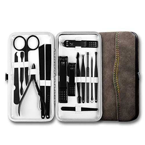 Professional Nail Clipper Set Manicure Sets Pedicure Kit - 15 PCS Personal Grooming Tools in Exquisite Travel Case for Men and Women