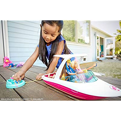 Barbie Dolphin Magic Ocean View Boat Playset - Take Barbie Doll and Her Friends for a Water Ride - Puppies Can Tube Behind - Scuba Snorkel and Life Vest Included - Dolls Sold Separately: Toys & Games