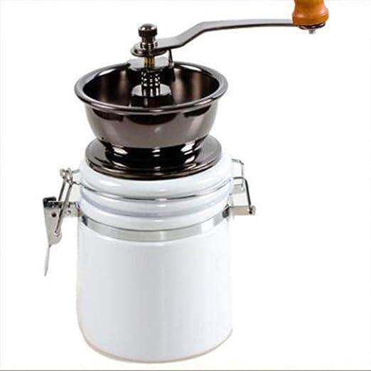 Molinillo de café manual Molino de cerámica Molino de mano de café Cafetera Granos de café Pimienta Especias Molinillo Máquina de moler cerámica,White: Amazon.es: Hogar