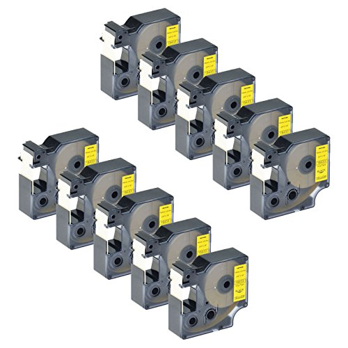 (GREENCYCLE 10 Pack Compatible Industrial Black on Yellow 3/4