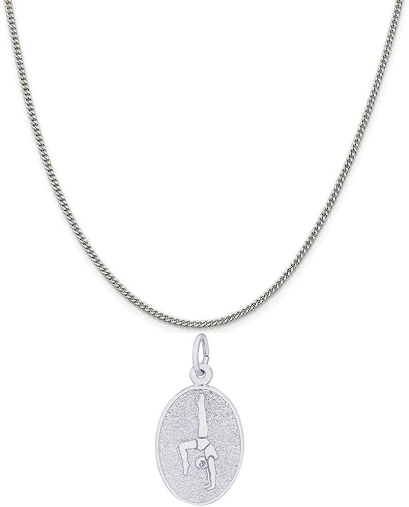Box or Curb Chain Necklace Rembrandt Charms Sterling Silver Gymnast Oval Disc Charm on a 16 18 or 20 inch Rope