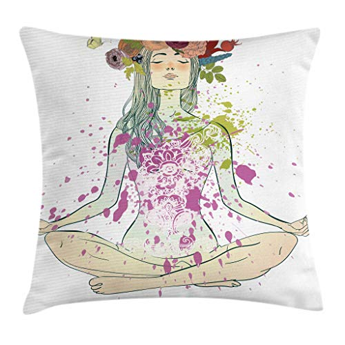 Ambesonne Yoga Throw Pillow Cushion Cover, Girl with Floral Wreath Sitting in Lotus Pose Color Splashes Levitation Meditation, Decorative Square Accent Pillow Case, 16
