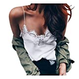 Kyпить Women Vest Tops,Napoo Cami Tank Tops Crop Chiffon Sheer Shirt Blouse (L, White) на Amazon.com