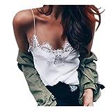 Women Vest Tops,Napoo Cami Tank Tops Crop Chiffon Sheer Shirt Blouse (L, White)
