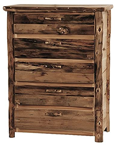Mountain Woods Furniture Rustic Arts 5-Drawer Chest, Wood Pull, Beeswax/Linseed Oil Finish - Mountain Lodge 5 Drawer Chest