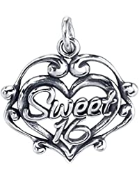 Sterling Silver Sweet 16 Filigree Heart Charm Pendant on a Rope, Box or Curb Style Chain Necklace