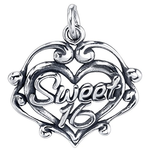 (Raposa Elegance Sterling Silver Sweet 16 Filigree Heart Charm Pendant (Approximately 18 mm x 19 mm))