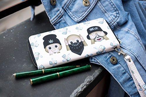 Portafoglio moda per Holder Uomo Donna Cash cerniera carta della borsa Monkeys Thug Life [050]