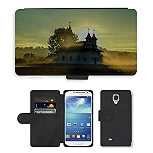 Hot Style Cell Phone Card Slot PU Leather Wallet Case // M00169961 Church Landscape Sunrise Sky // Samsung Galaxy S4 S IV SIV i9500
