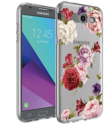Galaxy J7 V Case,Galaxy J7 Prime Case, BAISRKE Slim Shockproof Clear Floral Pattern Soft Flexible TPU Back Cove for Galaxy J7 V / J7 2017 / J7 Prime / J7 Perx / J7 Sky Pro/Galaxy Halo - Lavender
