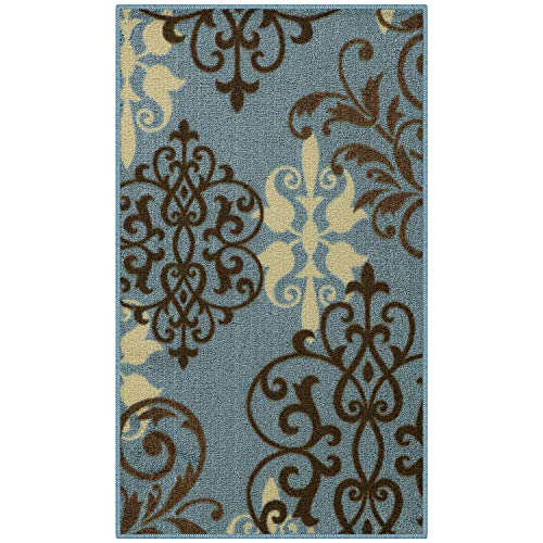 Maples Rugs Kitchen Rug - Eleanor 1'8 x 2'10 Non Skid Washable Throw Rugs [Made in USA] for Entryway and Bedroom, Blue