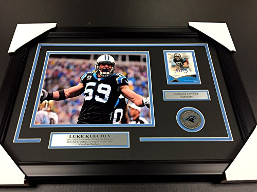 LUKE KUECHLY CAROLINA PANTHERS AUTOGRAPHED CARD WITH 8X10 Photo Framed by Baseball Card Outlet & Sports Memorabilia