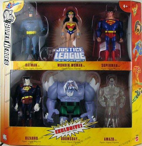 (DC Super Heroes Justice League Unlimited Exclusive Action Figure 6-Pack (Superman, Wonder Woman, Batman, Bizarro, Doomsday & Clear Amazo))