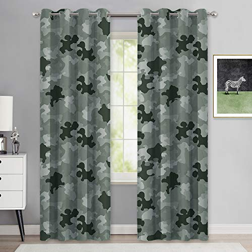 NICETOWN Marine Curtains for Boys Bedroom, Eyelet Top Room Darkening Camouflage Print Pattern Window Treatment Patriotic Panels for Cabin and Hunting Room Decor (W52 x L84, Sage Green, 2 Pcs)