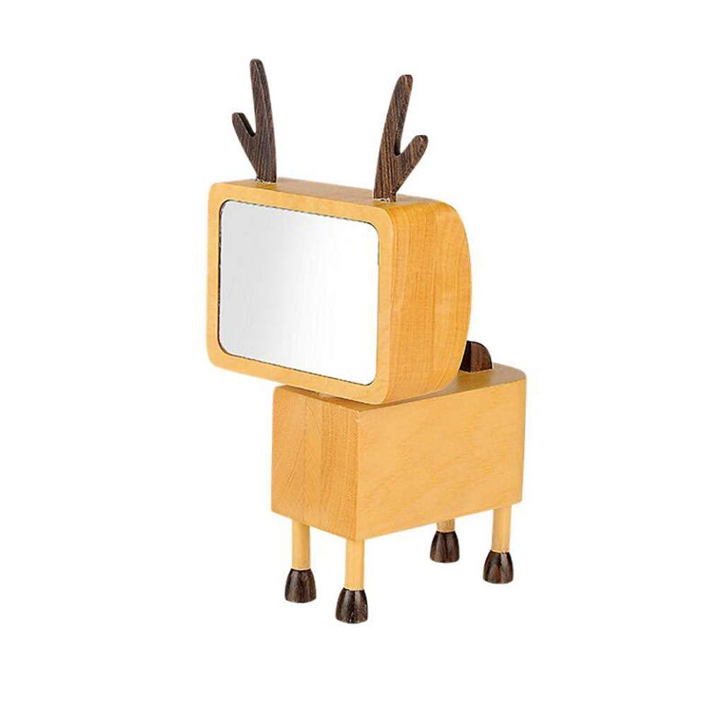 TLMYDD Carpenter Table Mirror Square Brain Deer Wooden Desktop Makeup Mirror Princess Mirror Simple Cartoon Dressing Mirror 8.7x16.5cm Cosmetic Mirror