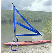 Harmony Upwind Kayak Sail and Canoe Sail kit (Blue). Complete with Telescoping Mast, Boom, Outriggers, All Rigging Included! Compact, Portable, Easy to Set up - Start Sailing This Season!