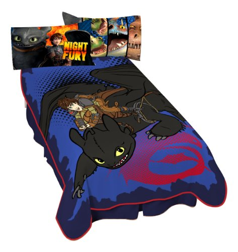 Dreamworks Dragon Flight Micro Raschel Blanket, 62 by 90-Inch (Dragon Night Fury)