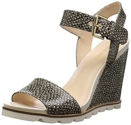 Nine West Gronigen sintético cuña de la sandalia Off White/Black