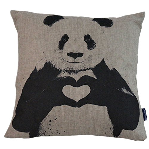 DolphineShow Printed Create of Life Animal Style Cotton Linen Square Panda Pattern Sofa Simple Decorative Pillow Cases Cushion Cover 18×18 Inches