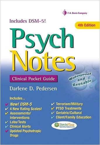 Psychnotes Clinical Pocket Guide Darlene D Pedersen Msn Aprn