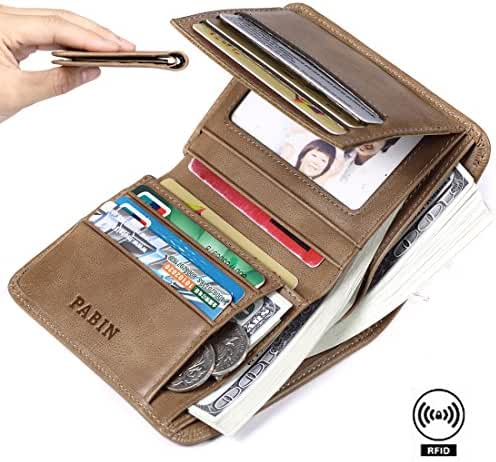 Pabin Mens Wallet Slim RFID Blocking Bifold Wallet for Men Trifold Leather Credit Card Holder