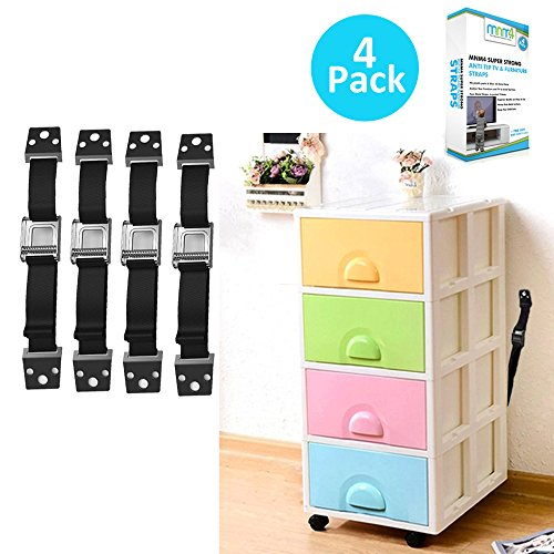 TV Safety & Anti-Tip Furniture Straps x 4 with Free Baby Safety Locks-Child Proofing Straps. Heavy Duty Metal Furniture Anchor Straps-Quakehold Safety-Flat Screen Safety & Earthquake Straps